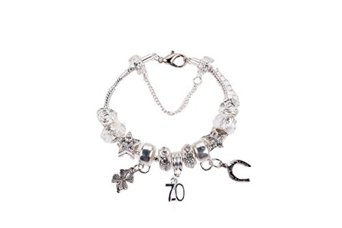 70th Birthday Silver Plated Charm Bracelet for Women/Girls, 19Cm, with Gift Box & Birthday Card