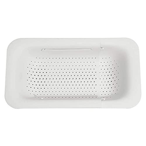 WLALLSS Cesta colador sobre el Fregadero - Lavar Verduras y Frutas, escurrir la Pasta cocida y secar los Platos - Extensible - New Home Kitchen Essentials