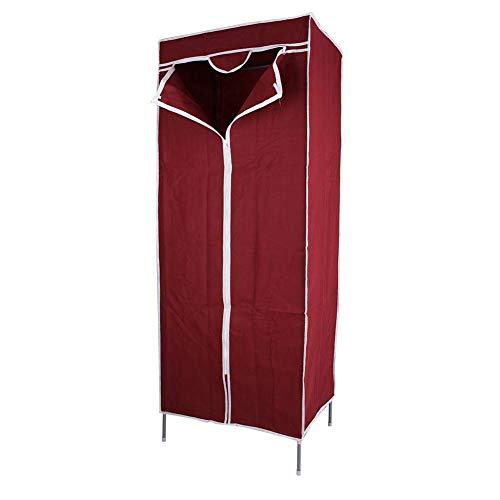 Armario de tela Estantes para guardarropas con riel para colgar Unidad de almacenamiento Organizador de un solo vestido Armario para dormitorio infantil con perchas Muebles para el hogar Rojo vino