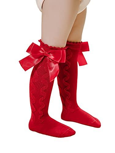 ZnirpEnielk Calcetines de Tubo para bebé Estilo de Corte español Calcetines de algodón de Princesa con Lazo Doble Medias hasta la Rodilla Color sólido Lindo (Red, Medium)