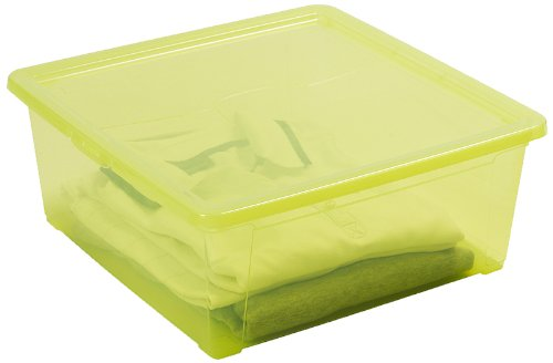 DEA HOME SET 5 opbergdoos Easy Box L (18L) DOORSCHINEND GROEN, 40x40x40x16, 40 x 40 x 16 cm