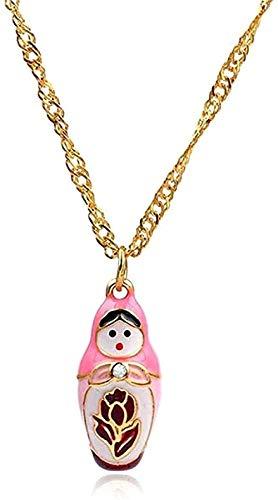 Collar lindo rosa muñeca rusa colgante collar para mujeres cadenas de eslabones esmalte Matryoshka muñeca accesorios de joyería regalos para niñas colgante collar regalo para mujeres hombres niñas niñ