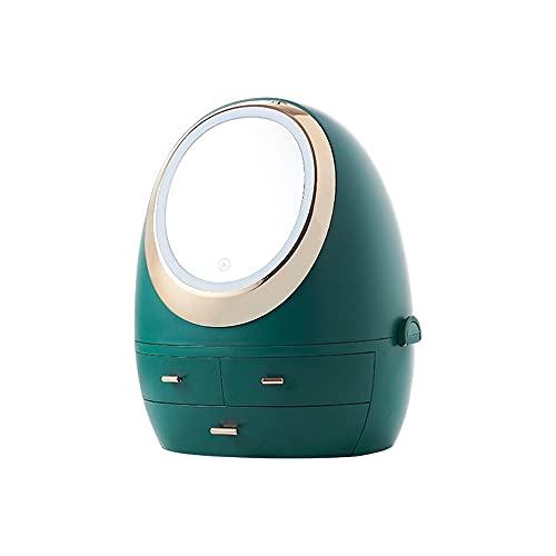 TIMAW Caja de Almacenamiento de Maquillaje LED LED LED de Escritorio Luz Luz de Escritorio, Caja de Maquillaje de cajones de Tres Capas, Mesa de Maquillaje Redondo portátil
