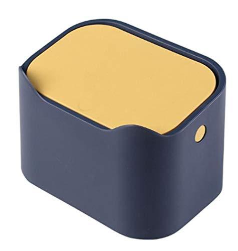 HuAQIGUO] Papelera pequeña de plástico para mesa de escritorio de cocina con tapa de botón para basura, basura, almacenamiento de residuos de oficina, color azul