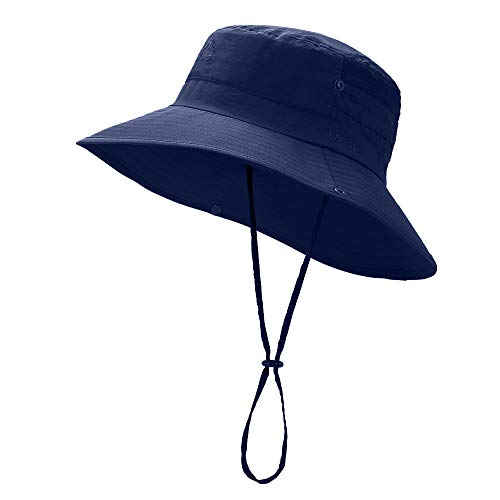 Wide Brim Sun Hat - UV Protection Fishing Hat, Waterproof Boonie Bucket Hat, Outdoor Hiking Safari Summer Hat for Men/Women Navy Blue