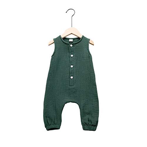 Haokaini – Ärmelloser Leinen-Overall für Mädchen und Jungen, lässige Knöpfe, Strampelanzug für Kleinkinder Gr. 12- 24 Monate, grün