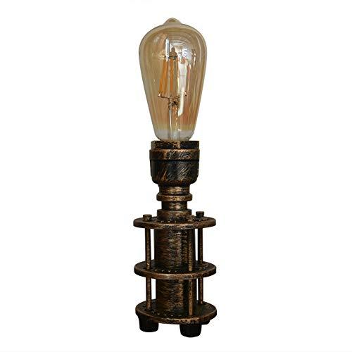 JAHQ Lampara Mesilla de Noche Tuberia Vintage Retro Industrial de Mesa Salon Decorativa con Enchufe Laton dorada e27 edison