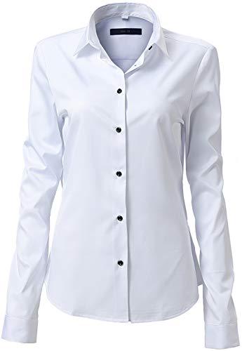FLY HAWK Damen Hemd Bluse Basic Bambusfaser Hemdbluse Slim Fit Arbeitshemden Langarm Stretch Hemden Freizeit Business Elegant Hemd Größe 34 bis 52,Weiß,38 (UK 10)
