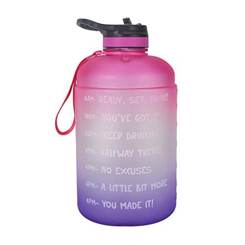 rongweiwang 1 Gallon Gradiente Wasserflasche mit Time Marker Leakproof 1 Gallon Transparent Kessel mit Stroh, Grün, Lila,