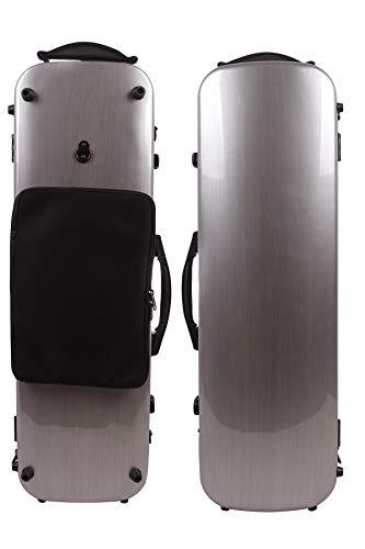 Funda para violín 4/4 de fibra de carbono de fibra de vidrio, caja oblonga fuerte luz, tamaño completo de la hoja de música (oro champán)