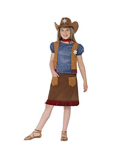 Smiffys Disfraz de Vaquera del Oeste, Marrón, con Parte de Arriba, Falso Chaleco, Falda,