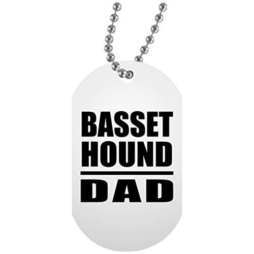 Basset Hound Dad - Military Dog Tag Collar Colgante Militar Blanca - Regalo para Cumpleaños, Aniversario, Día de Navidad o Día de Acción de Gracias
