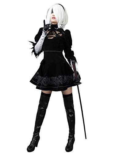 Cosfun Game Yorha 2B Cosplay Costume Full Set mp003590 (Medium) Black