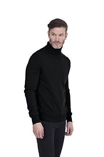 Cashmeren Men's Basic Turtleneck Pullover 100% Pure Cashmere Long Sleeve Roll Neck Sweater (Black, Large)