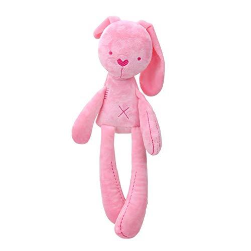Muñeca de conejo de peluche, conejo, juguete para bebés para niños que duermen, linda muñeca de conejo, conejo, compañero de dormir, juguetes de peluche (rosa)