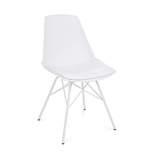 ARREDinITALY Lot de 4 chaises Design Assise avec Coussin et Pieds Blanc