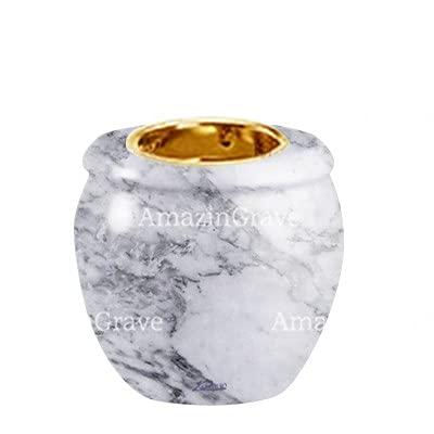 AmazinGrave - Colecciones en mármol de Carrara para decoración de lápidas o Tumba - Base de lámpara votiva Amphòra 10cm - con Montaje al suelo3249-8601