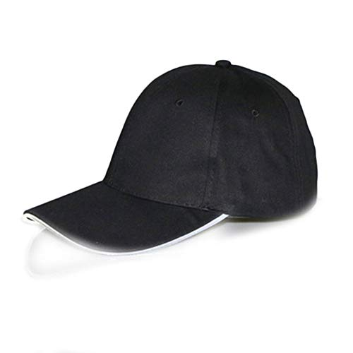 Baseballkappe mit LED-Beleuchtung, für Sport, Athletik, Reisen, Hip-Hop, Sport, Blitz, 1 Stück 1 schwarze Kappe weiß Licht
