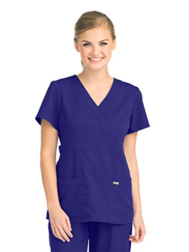 Grey's Anatomy 4153 Women's Mock Wrap Top Purple Rain 2XL