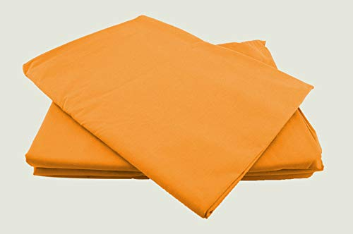 Betttücher ohne Gummizug Baumwolle viele Farben und Größen Bettlaken Betttuch Haustuch (150x240cm, orange)