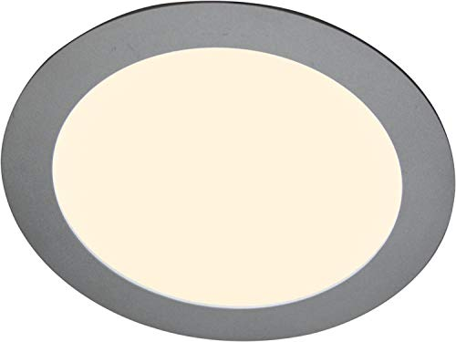 Heitronic LED Deckenleuchte LED Panel Silber IP44   LEDs fest verbaut 8W 270lm warmweiß   27638