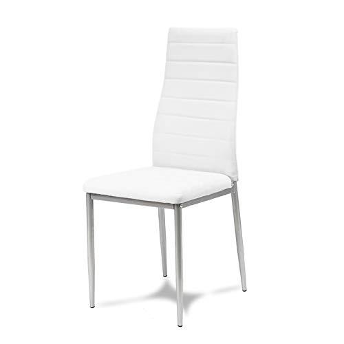 Silla tapizada en piel ecológica blanca sobre patas plateadas para salón comedor elegante 704B