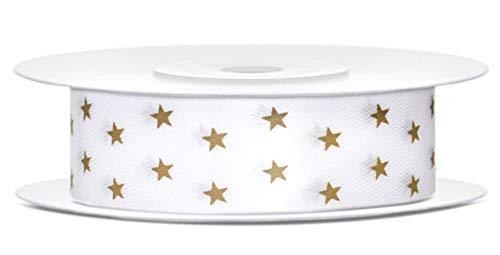 Libetui Satinband Weiß Breite 18mm Schleifenband Weiß mit goldenen Sternen Satin Dekoband Gold Geschenkband für Geschenke Hochzeit Rolle 10 Meter Band Weiß Gold