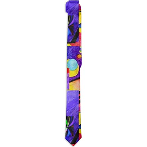 Paedto Corbatas para hombres Moda para hombre Novedad Causal Accesorio para disfraz Largo Púrpura Kandinsky Collage Corbata Corbata Corbata delgada para cena de boda Fiesta