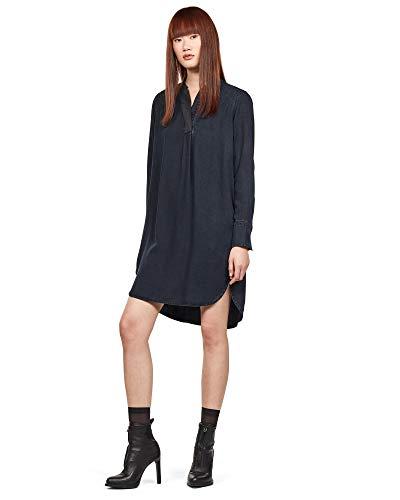 G-STAR RAW Damen Ogee V-Neck Kleid, Blau (medium Aged 071), (Herstellergröße:L)