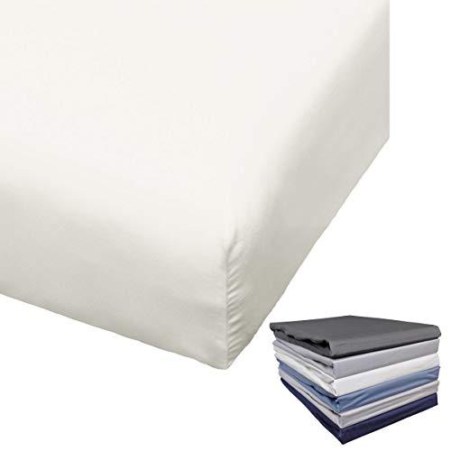 Bierbaum Spannbettlaken Mako Satin 90-100x200 / 180-200x200 cm Weiß Anthrazit Indigo Silber Grau Blau, Farbe:Offwhite, Größe:180x200cm Spannbettlaken