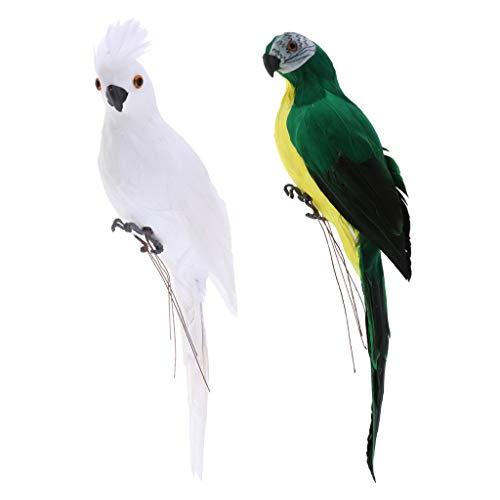 SM SunniMix 2 Stück Deko Ara Papagei Vogel Figur Vögelchen aus Künstliche Feder und Kunststoff Dekofigur Dekovögel