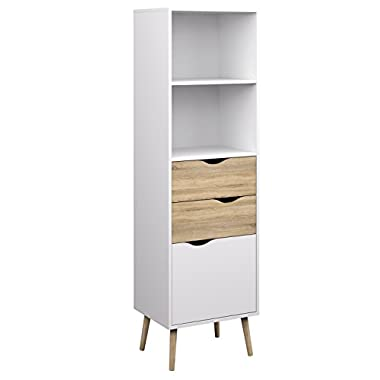 Tvilum 7538249ak Diana Bookcase with 2 Drawer and 1 Door, White Oak