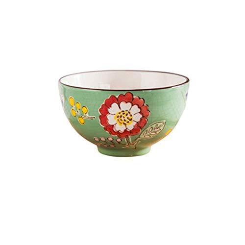 1yess Tazón de Fuente, el Estilo Pintado a Mano Chino Cerámica Plato de Arroz Cocina Uso en el hogar Plato de Arroz Varios Tipos de Flores de Fideos Tazón Vajilla (Color: GX4, tamaño: 40)