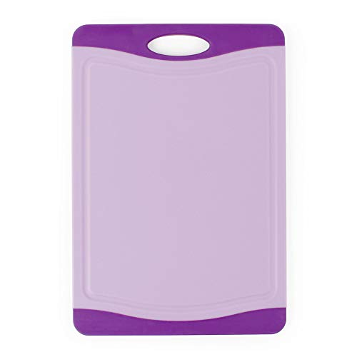Neoflam Microban Antimicrobial Protection Cutting Board 11'', Stain & Odor/BPA Free, Reversable, Juice Groove, Non-Slip EZ Grip Handle, Dishwasher Safe, Kitchen Use for Chopping, Food Prep, Purple
