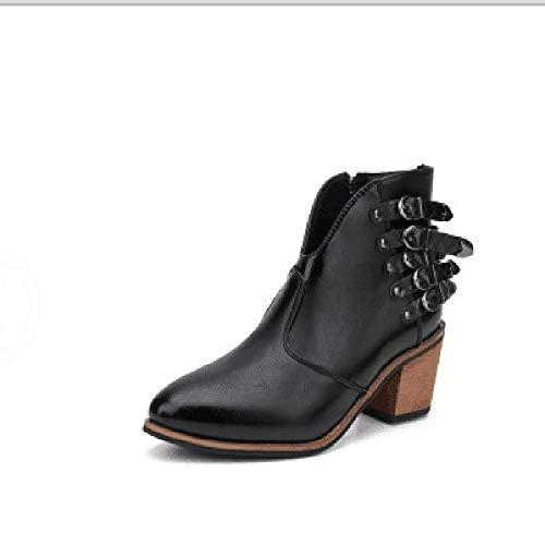 LXWS Botas Cortas para Mujer, Zapatos De Tacón Alto De Cuero Genuino, Botines con Hebilla De Cinturón con Remaches, Botas Martin De Gran Tamaño con Punta Redonda,Black-36