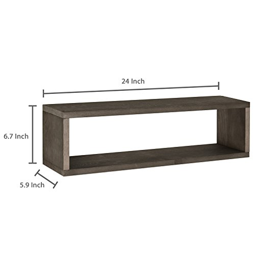 MyGift Dark Brown Wood Finish Wall Mounted 24-Inch Floating Shelf, Rectangular Display Shadow Boxes, Set of 2