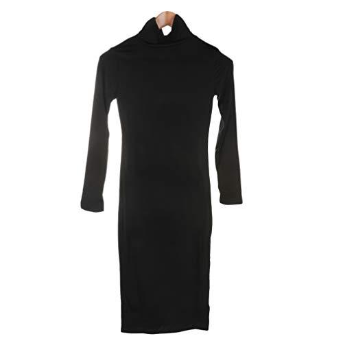 100% gloednieuwe vrouwen sexy jurk coltrui lange mouw winterjurk potlood jurk slanke merk en hoge kwaliteit gratis verzendingzwart