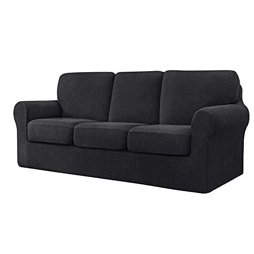 DGFDS Stretch-Jacquard-Sofabezug Mit Separaten Rückenlehnen Und Kissen, Ersatzmöbelschutz Mit Gummiband (Color : Grey, Größe : 3 Seater(185-235cm))