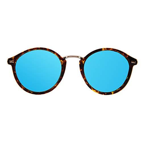 JAZZU - Gafas de Sol Polarizadas Redondas Unisex, Efecto Espejo y Protección UV400 - Hombre y Mujer (Turquesa)