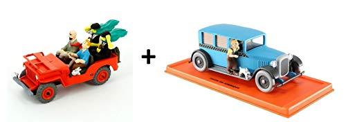 OPO 10 - Posten von 2 tönungsfreien Autos: Jeep Willys MB + Taxi Checker - Sammlung 1/43