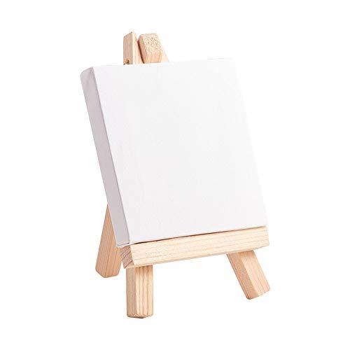 NBEADS Cavalletto Mini Canvas, 10 Sets 280GSM 100% Cotone Senza Acidi Mini Pannello Quadrato con Cavalletto in Legno per Decorazioni A Olio E Pittura Ad Acquerello