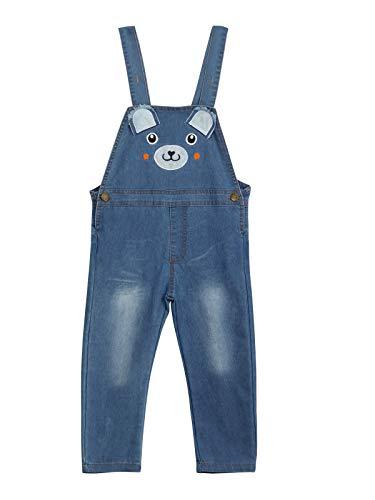 Kinder Jungen Mädchen Denim Latzhose Baumwolle Jeans Hosen mit Hosenträger für Frühling Herbst Cartoon Pattern Bärchen Größe 120