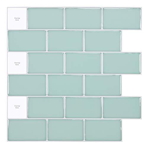 Art3d - Azulejos para cocina (30 x 30cm), color de verde azulado