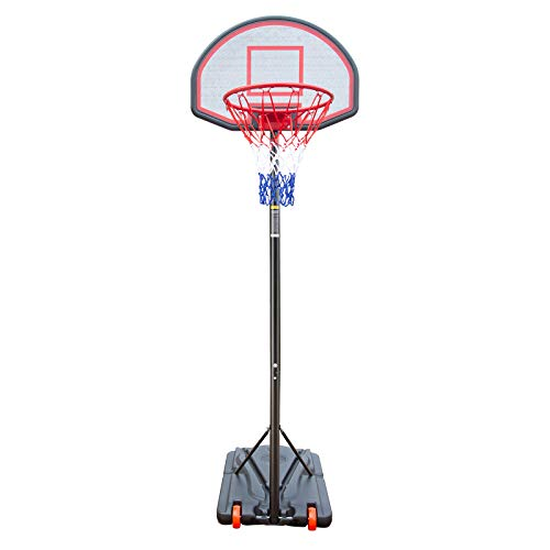Waful Portable Basketball Hoop & Backboard System Stand and Rim, Goal Basketball Equipment w/Wheels Adjustable Height 5.2ft - 7.2ft for Youth Kids Adults Family Indoor Outdoor Use
