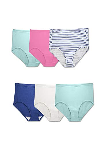 Fruit of the Loom womens Tag Free Cotton Brief Panties (Regular & Plus Size) Underwear, Plus Size Brief - 6 Pack Comfort Covered Waistband, 12 US