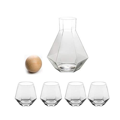 QAX Jarra de agua de vidrio con tapa de 1380 ml, más gruesa resistente al calor, jarra de vidrio de borosilicato para té, zumo y leche, transparente, botella + 4 tazas
