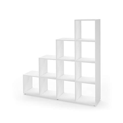 Vicco Treppenregal 10 Fächer Raumteiler Stufenregal Bücherregal Raumtrenner Aktenregal Standregal