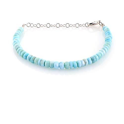 Larimar pulsera de cuentas Larimar pulsera de piedras preciosas genuinas de plata de ley joyería de piedra azul cielo pulsera con cuentas Larimar Jewelry