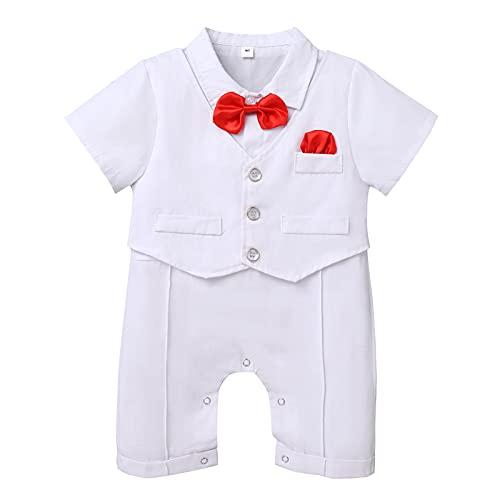Traje de bautizo de bautizo para bebés y niños con pajarita mameluco de la boda, traje de esmoquin de una pieza, Blanco (All White),