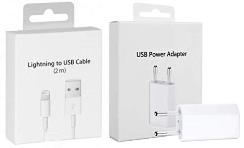 MyPhone Original Box Kit 2 en 1 Cable 2mt Enchufe Cargador EU para iPhone 1A 5 W 1400 + Cable Lightning 2 MT Blanco para iPhone 5 5 C 5S 6 se 6S 7 8 X